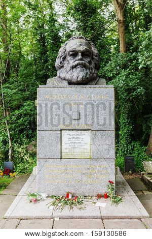 Tomb Of Karl Marx At The Highgate Cemetery In London
