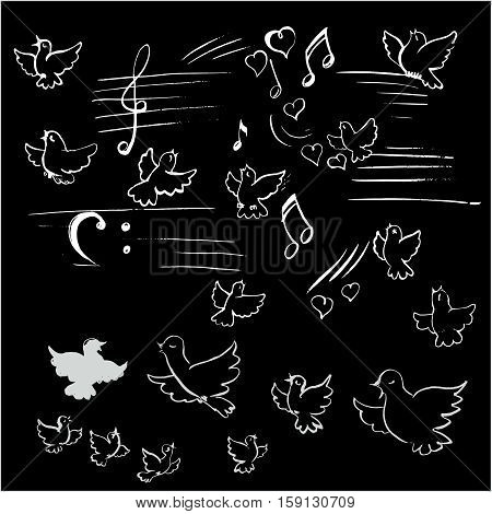 birds and notes vector nature, note, popular, silhouette,