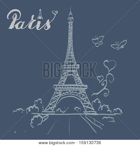 tour Eiffel romantic vector illustration tall, text, tour, tourism