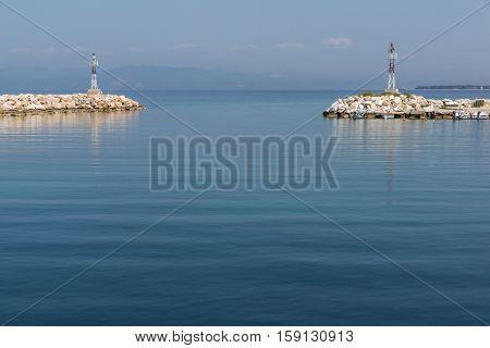 Panorama of Port of Skala Sotiros, Thassos island, East Macedonia and Thrace, Greece