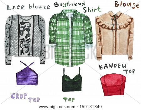 Boyfriend shirt, lacy blouse, shirt, blouse, crop, top, bandau top Hand drawn watercolor illustration Raster illustration