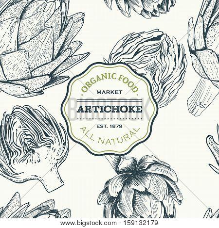 Vector hand drawn seamless artichoke illustration on white background