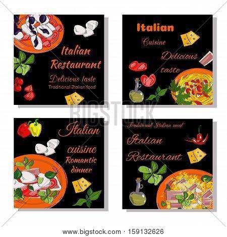 Italian Food Design Template. Square Banners Set. Italian Cuisine Restaurant Menu. Vector Drawn Bann