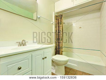 White Clean Bathroom Interior