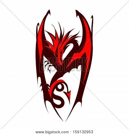 Dragon logo vector  symbol, symbolic, tattoo, template, traditional, tribal