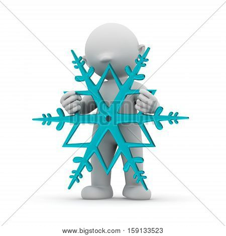 3d human with a snowflake christmas cold weather