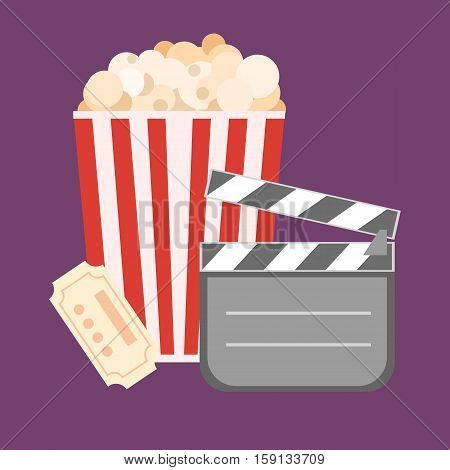 Popcorn For Movie Theater And Online Cinema Reel On Blue Background. Eps10 Vector Illustration. Pape