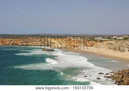 Ocean Waves On Praia Do Tonel Beach. View From Sagres Fortress, Portugal.