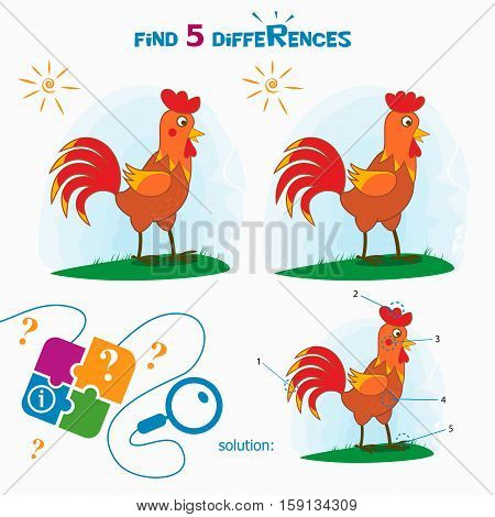 Find 5 differences. Cartoon Vector Illustration of Finding Differences Educational Activity Task for Children with cute rooster.