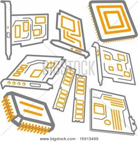 A set of 8 vector icons of CPU processors, RAM memory, mainboard, video and sound cards.
