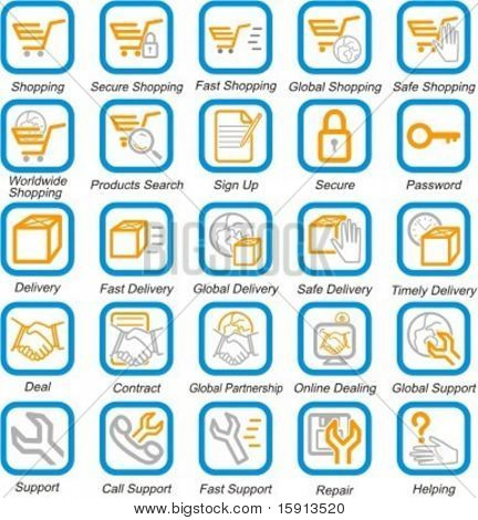 A set of 25 vector internet, business and e-commerce pictograms.
