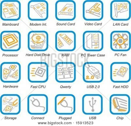 A set of 20 vector computer system, hardware and peripherals pictograms.