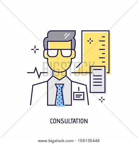 Medical consultation. Diabetes vector thin line icon. Premium quality outline sign. Stock vector illustration in flat design.