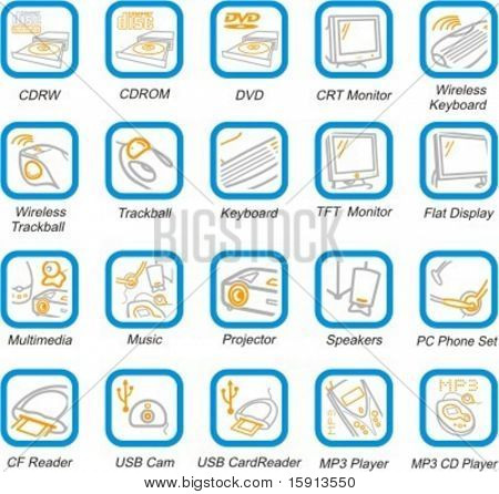 A set of 20 vector computer, multimedia and peripherals pictograms.