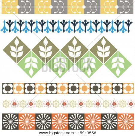 A set of 6 vector floral ornamental borders.