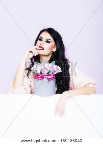 Sexy Girl With Roses On Violet
