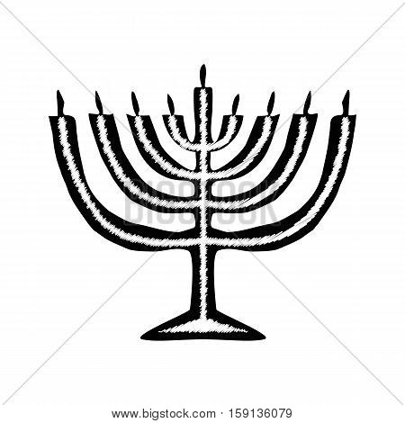 Chanukah candle black silhouette. Jewish religious holiday of Hanukkah. Vector illustration on isolated background.