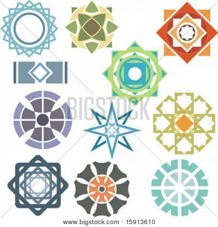 A set of 11 vector ornamental design elements.