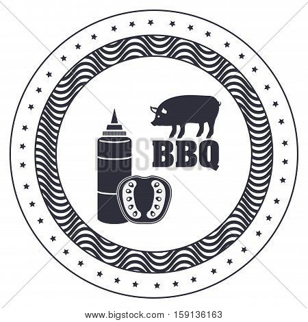 Sauce tomato and pork icon. Bbq menu steak house food meal restaurant and barbecue theme. Isolated design. Vector illustration