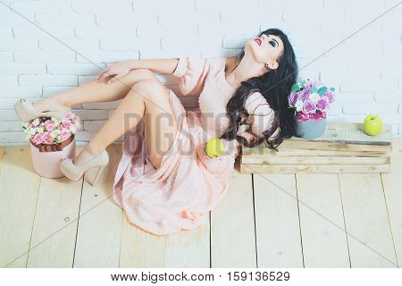 Sexy Girl With Roses And Apple