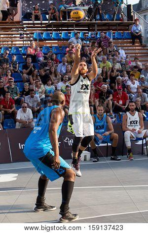 DDEBRECEN - SEPTEMBER 8 : FIBA 3X3 BASKETBALL WORLD TOUR MASTERS - PLAYER MARKO ZDERO SUB ZERO - STREETBALL IN THE CENTER SQUARE SEPTEMBER 8 2016 DEBRECEN HUNGARIYA
