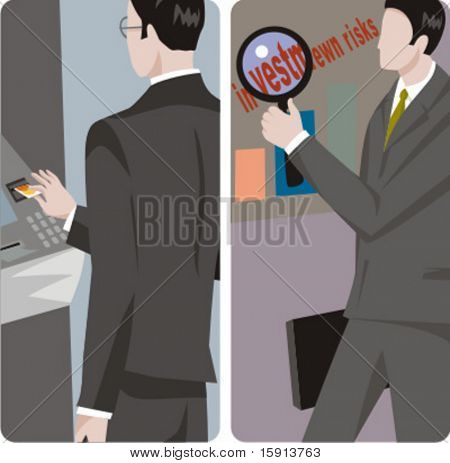 A set of 2 businessmen vector illustrations. 1) A businessman using an ATM machine. 2) A businessman studying the market investment risks.