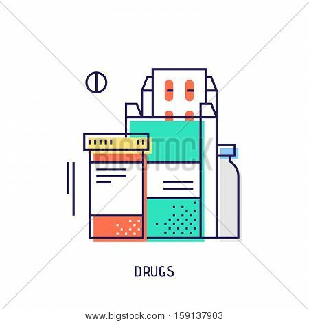 Drugs and pills icon. Diabetes vector thin line icon. Premium quality outline sign. Stock vector illustration in flat design. See also other medical icons.