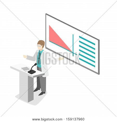 Isometric Flat 3D Concept Vector Of Conference Medical Doctor Clinic Research Training. Isometry Peo