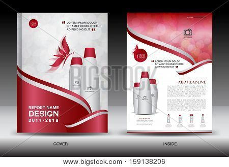 Annual report brochure flyer template, red cover design, cosmetics brochure flyer template, spa flyer