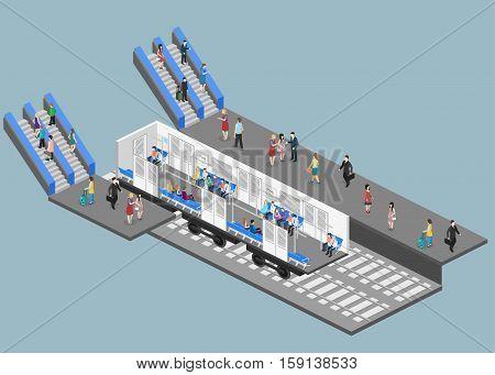 Isometric Flat 3D Vector Interior Of Metro Subway Train Carriage. Underground Station