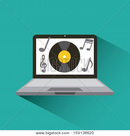 laptop computer with vinyl icon on screen. music and technology concept. colorful design. vector illustration