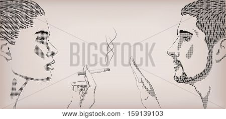 Woman smoking smoke cigarette men ban prohibit face to face profilea. Vector horizontal beautiful lifestyle sign signboard close-up side view illustration color background
