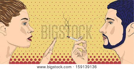 Woman smoking smoke cigarette men ban prohibit face to face profile. Vector horizontal beautiful lovely sign signboard close-up side view illustration beige background