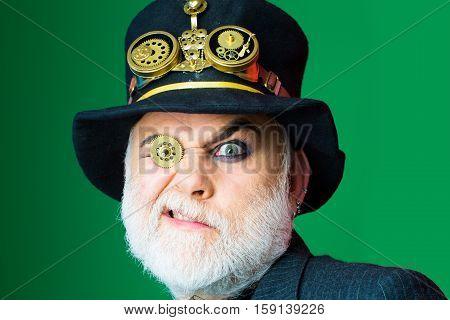 Man With Cogwheel In Eye