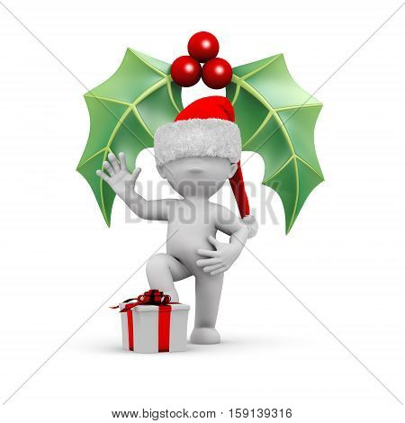 3d human with a santa hat a gift and a mistletoe
