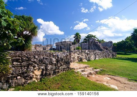 Tulum ruins at Mexico near Caribbean sea
