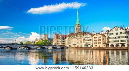 Historic Zurich City Center With Famous Fraumunster Church And Limmat River