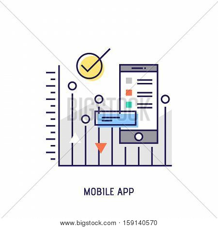 Mobile app icon. Diabetes vector thin line icon. Premium quality outline sign. Stock vector illustration in flat design.