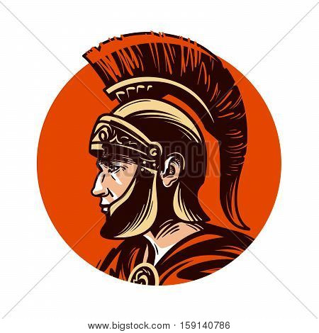 Ancient warrior in helmet symbol. Vector illustration isolated on white background