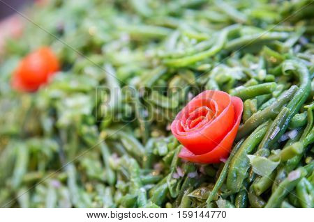 Cooked Green Beans With Tomato During Typical French Buffet