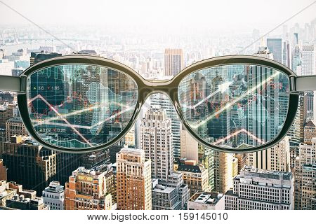 Close up of abstract glasses with forex chart on city background. Fund management concept. 3D Rendering