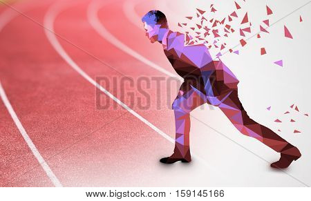 Side view of abstract polygonal businessman with pattern getting ready to run on red running track. Competition concept