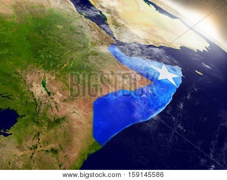 Somalia With Flag In Rising Sun