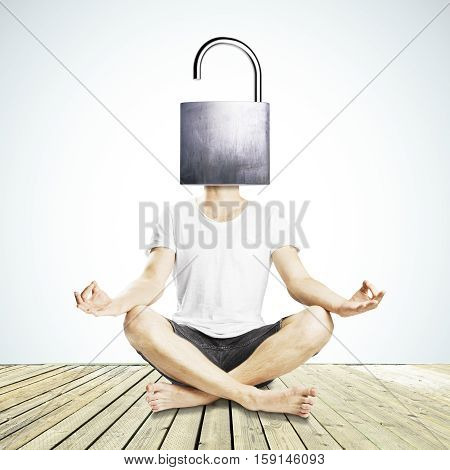 Meditating man with open iron lock instead of head on white background. Unlocking mind to find new solutions poster