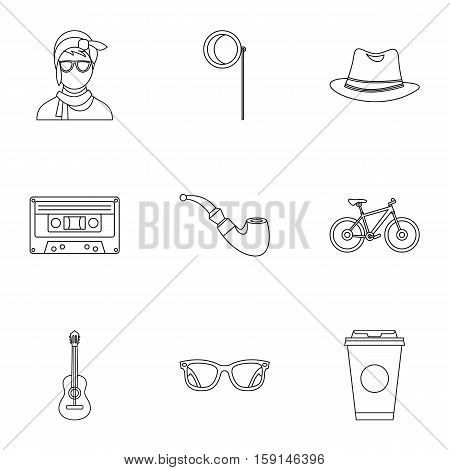 Hipster culture icons set. Outline illustration of 9 hipster culture vector icons for web