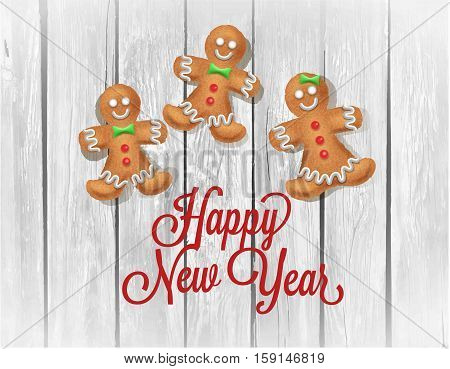 Christmas homemade gingerbread couple on wooden table. Vector illustration for new year s day, christmas, winter holiday, cooking, new year s eve, food, silvester, etc