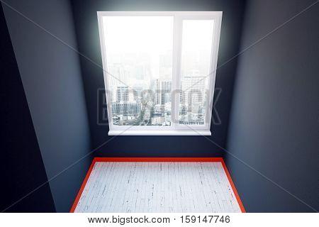 Dark Grey Room With Red Plinth