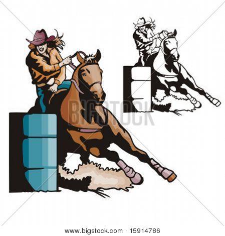 Illustration of a ladies' barrel racing.