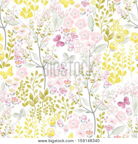 Tender seamless pattern with flowers and flying butterflies. Vector spring illustration in vintage style.