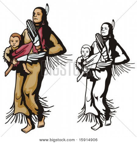 Illustration of an indian mother holding a baby.